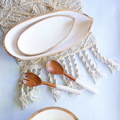 Large White Enamel & Mango Wood Serving Dish