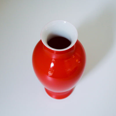 Glossy Mini Vase 9 - Coral Red