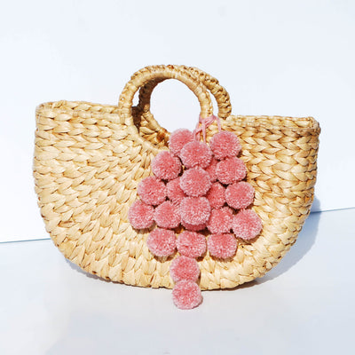 Anaya Water Hyacinth Straw Pom Pom Bag - Blush