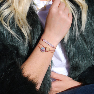 Sparkle Bar Rose Gold Slider Bracelet