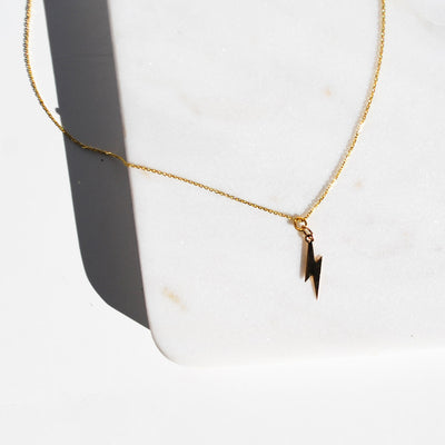 Lightning Bolt Delicate Gold Necklace