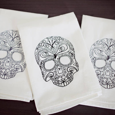 Embroidered Skull Tea Towel