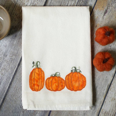 Embroidered Fall Pumpkin Tea Towel