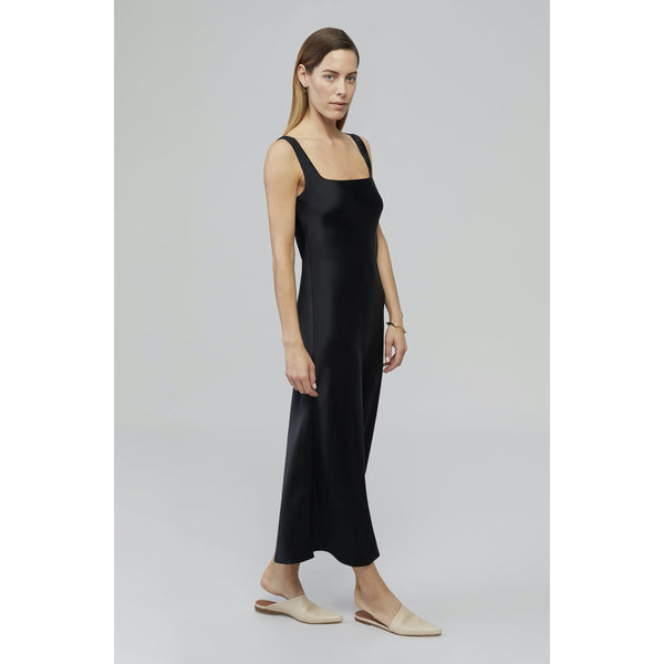 Pre Order: BEAM - Black A-Line Silk Midi Dress