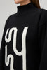 Black High Neck Jumper with Monogram Detail Yaitte