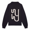 Black high neck wool monogram knit yaitte