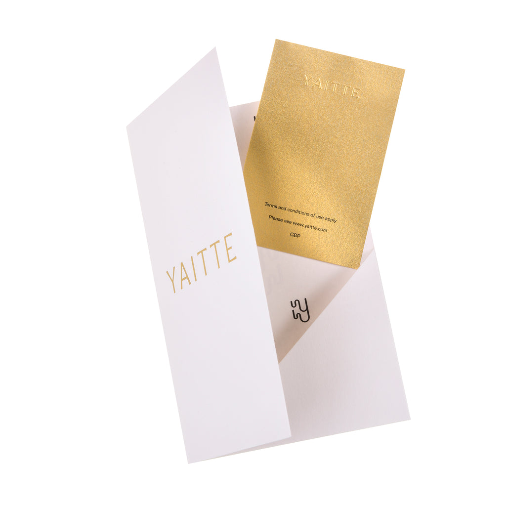 Gold embossed gift card yaitte