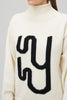 White High Neck Jumper Monogram Detail Yaitte