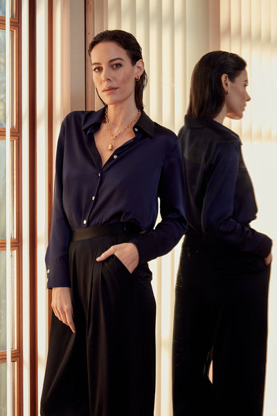 ISLA - Navy Silk Shirt