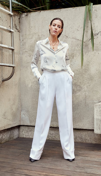 OLA - White Wide Leg Trouser
