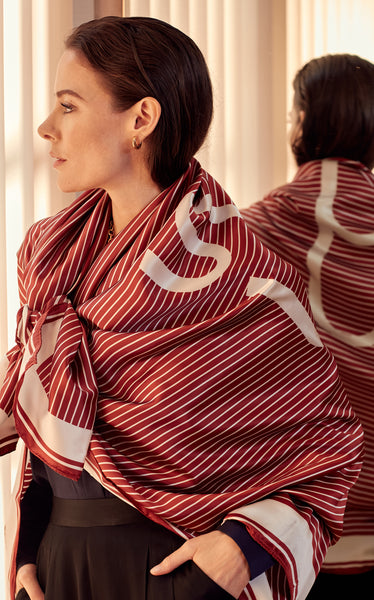 SAIL - Large Rust Red Monogram Print Silk Scarf