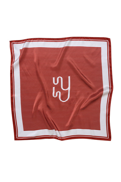 Yaitte SAIL Large Red Rust Monogram Print Silk Scarf