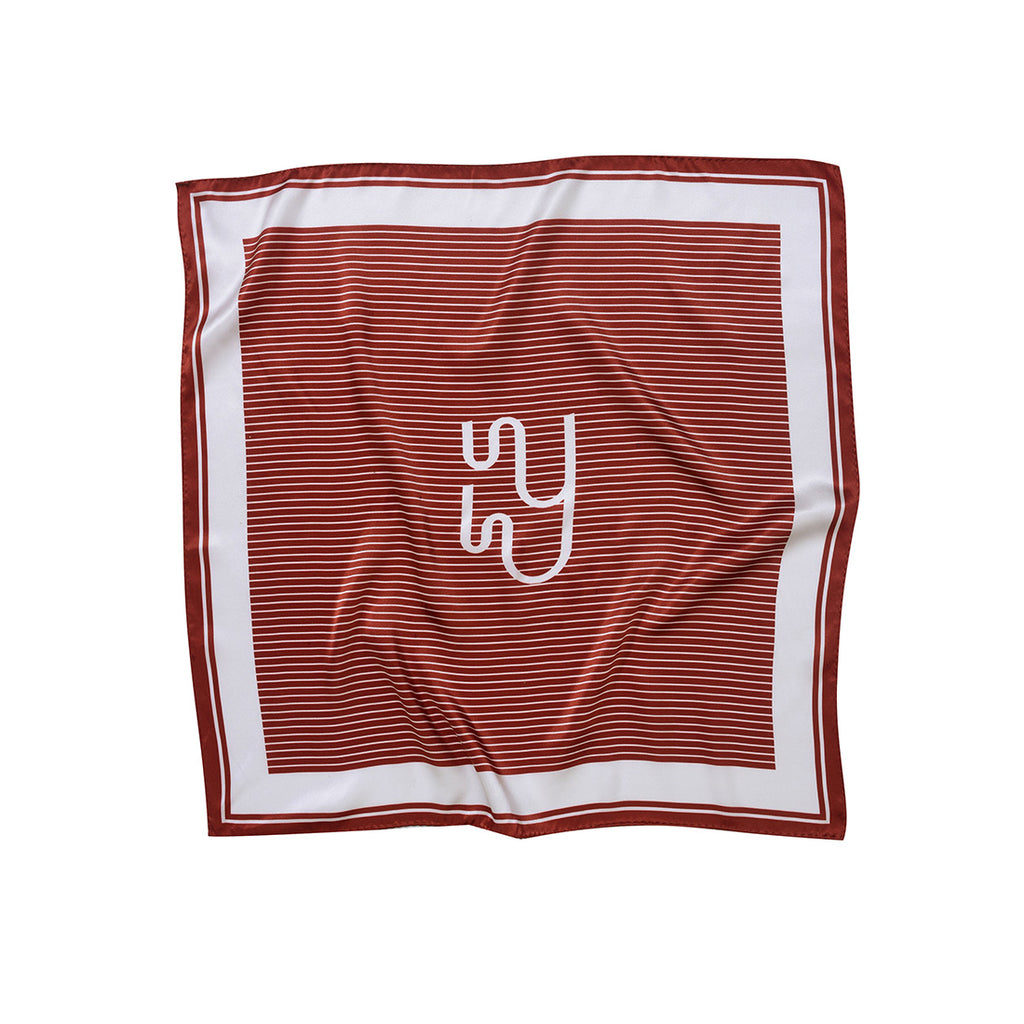 OCEANO - Rust Red Monogram Print Silk Neckerchief
