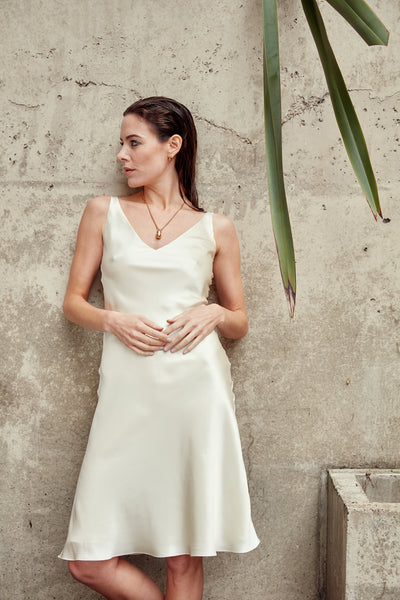 SOL - Ivory V-Neck Silk Dress