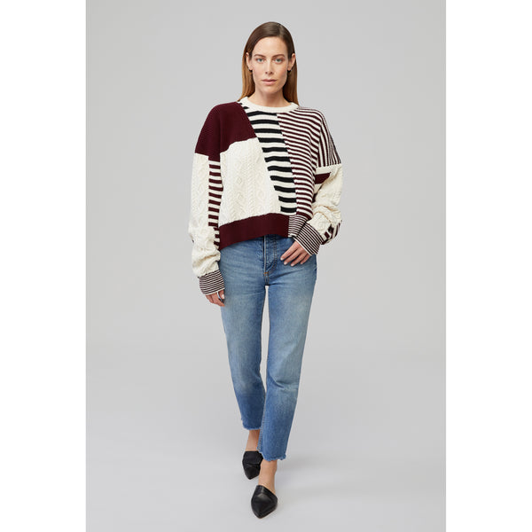 Yaitte CONVOY burgundy patchwork crop knit