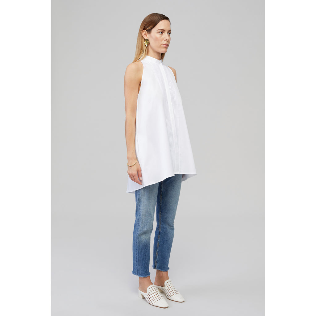 Yaitte KEEL White Cotton Sleeveless Shirt