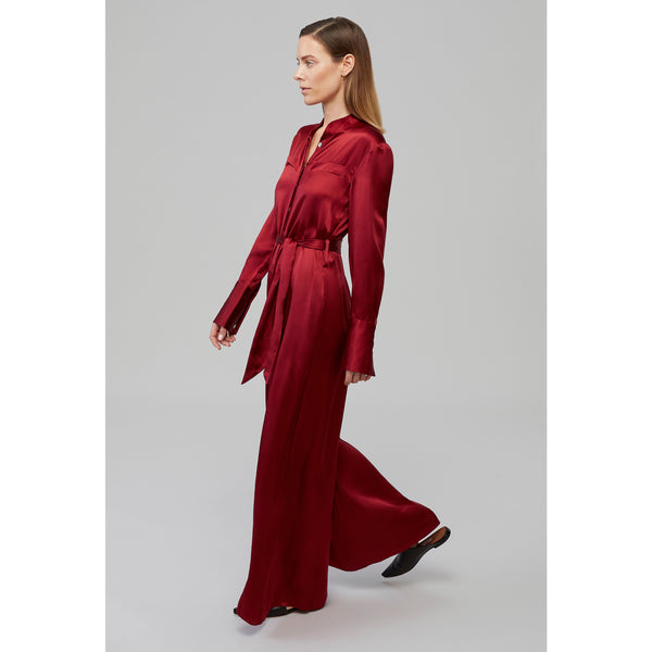 Yaitte PATROON burgundy long sleeved silk jumpsuit