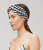 BOW - Black and White Stripe Silk Turband