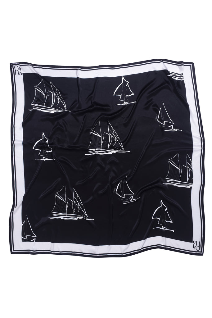 YACHT - Large Printed Silk-Satin Scarf