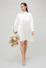 High Neck White Silk Satin Mini Dress Yaitte Bridal