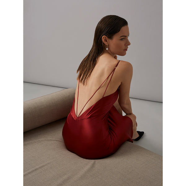 GARNET - Red Silk Satin Slip Dress