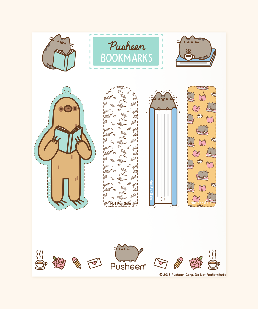 Printable Pusheen Bookmarks