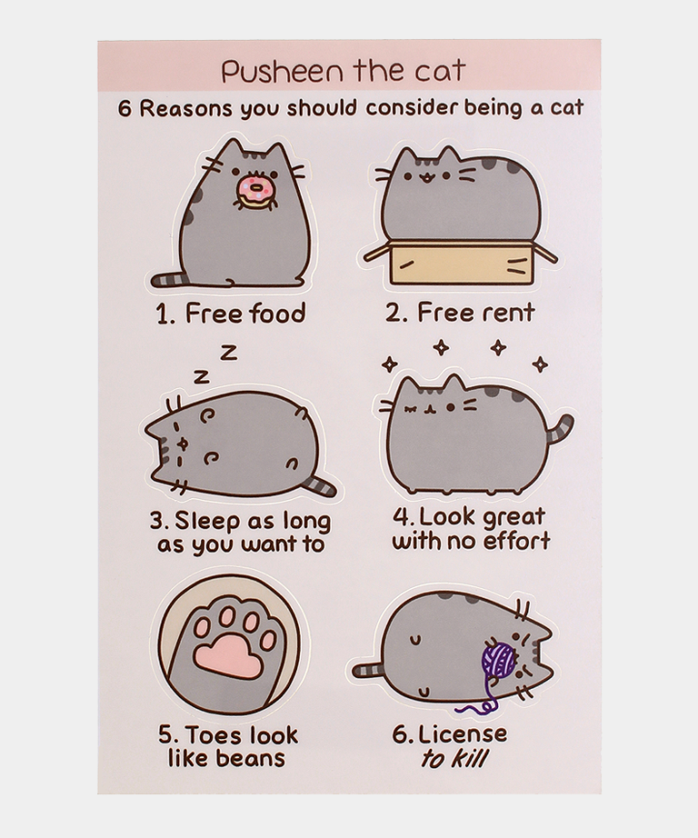Pusheen Quot 6 Reasons Quot Sticker Sheet Pusheen Shop