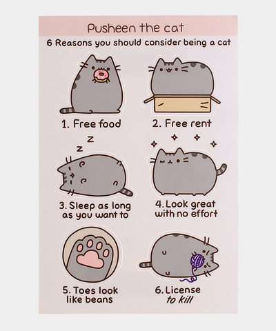 "Pusheen ""6 reasons"" sticker sheet"