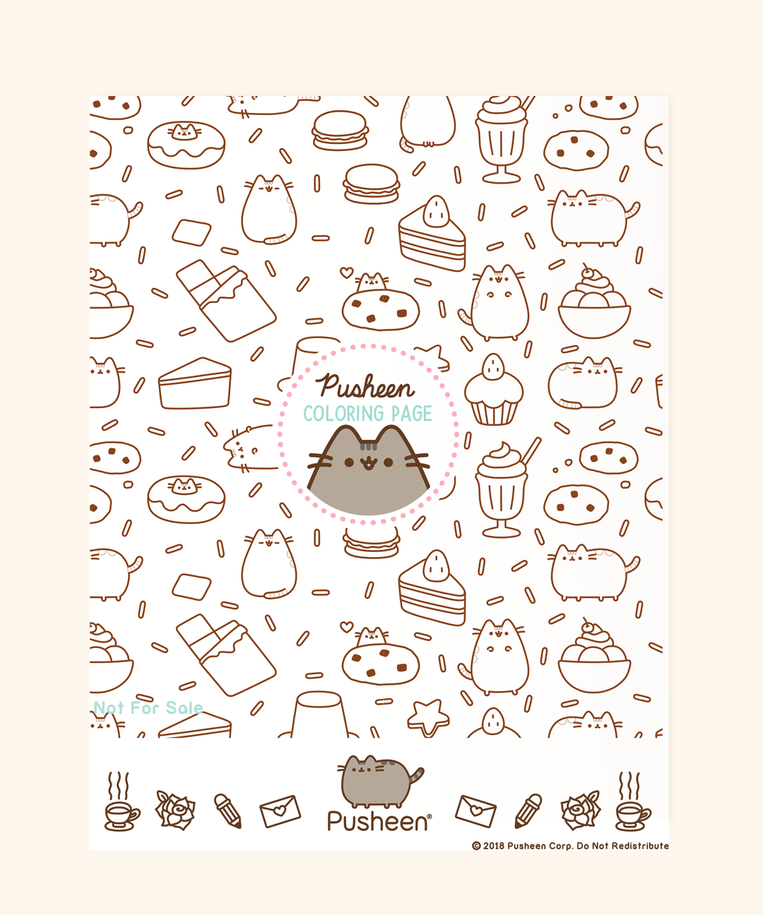 Printable Pusheen Coloring Page