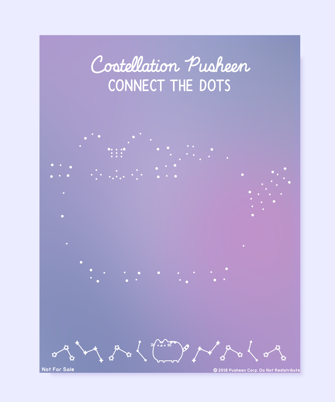 Printable Pusheen Constellation Connect-the-Dots Activity