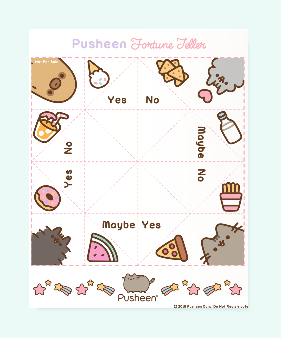 Printable Pusheen Fortune Teller Game