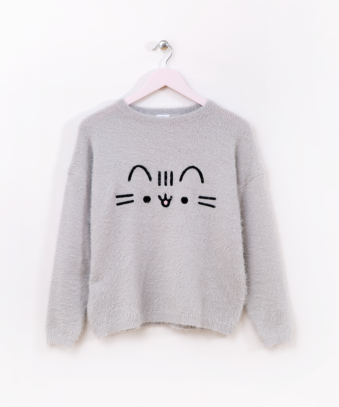 Fuzzy Face Embroidered Ladies Sweater Pusheen Shop
