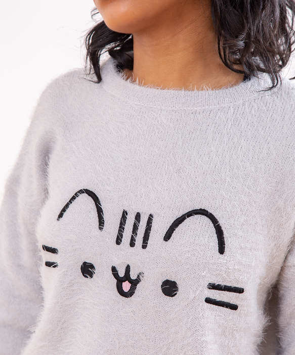 Fuzzy Face Embroidered Ladies Sweater