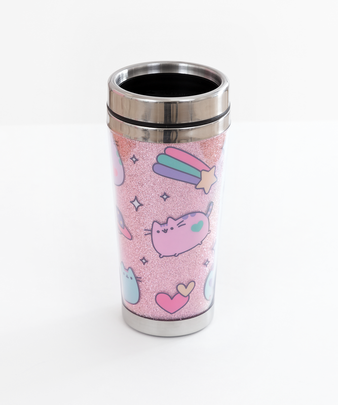 Pastel Pusheen Glitter Travel Mug