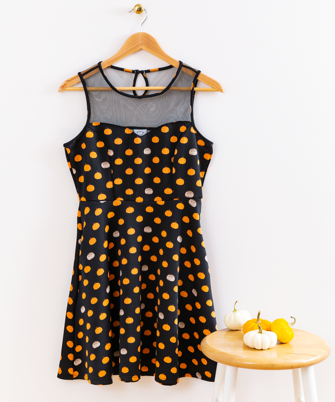 Pumpkin Pusheen Mesh Illusion Dress