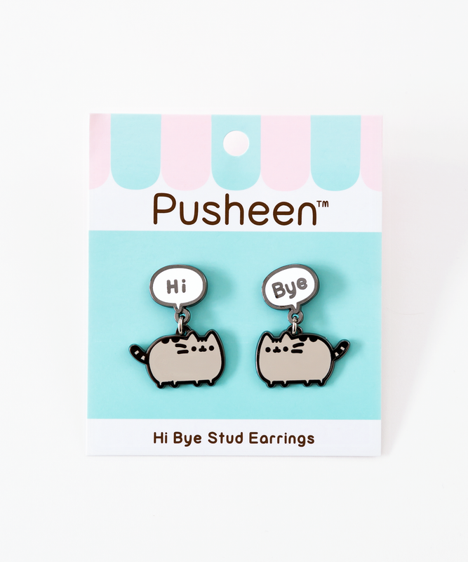 Hi Bye Pusheen Stud Earrings