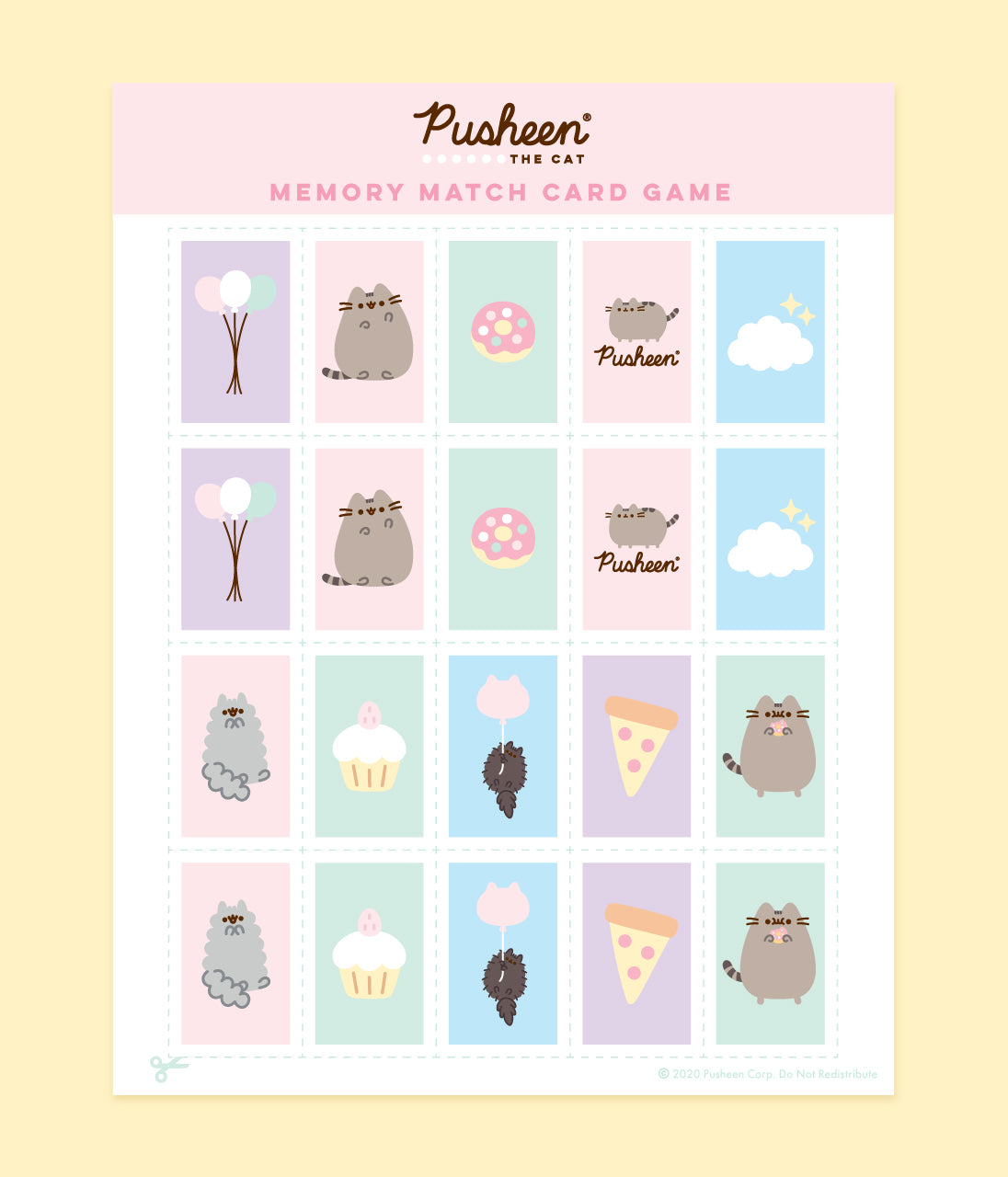 Printable Pusheen Memory Match Card Game