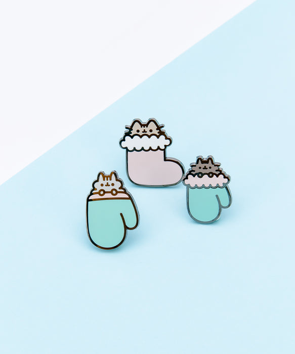 Pusheen Kittens In Mittens Pin Set