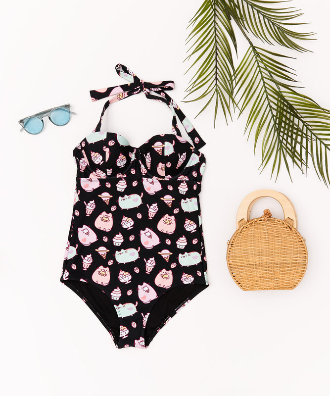Black Pastel Pusheen One Piece Swim Suit