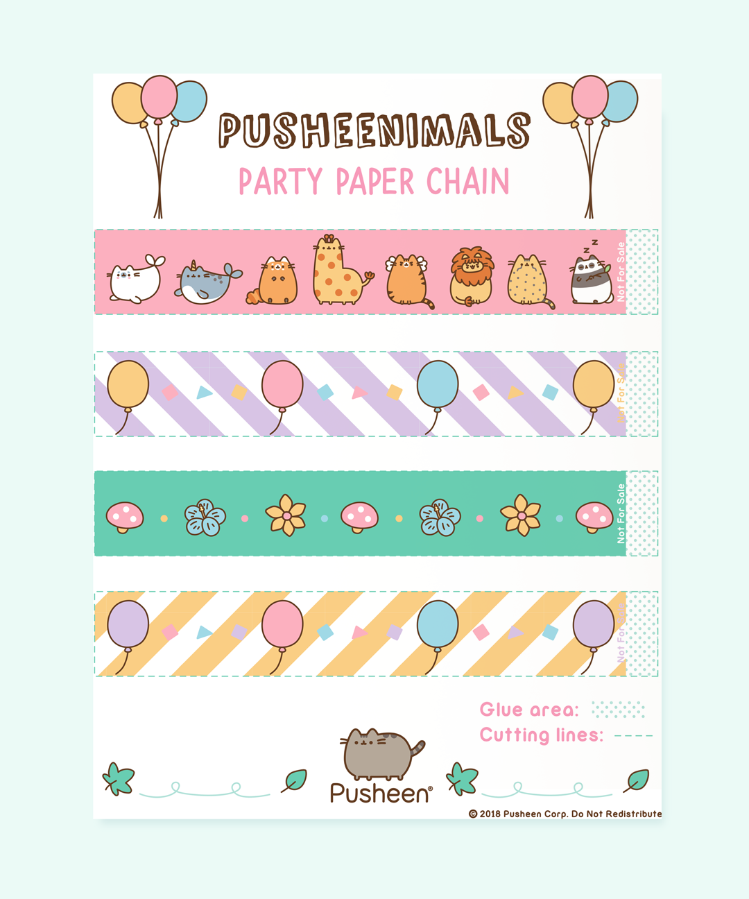 Pusheenimals Printable Paper Chain