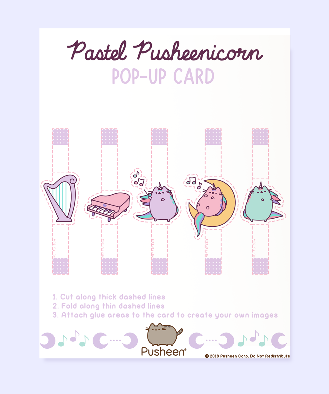 Printable Pastel Pusheenicorn Pop-Up Cards