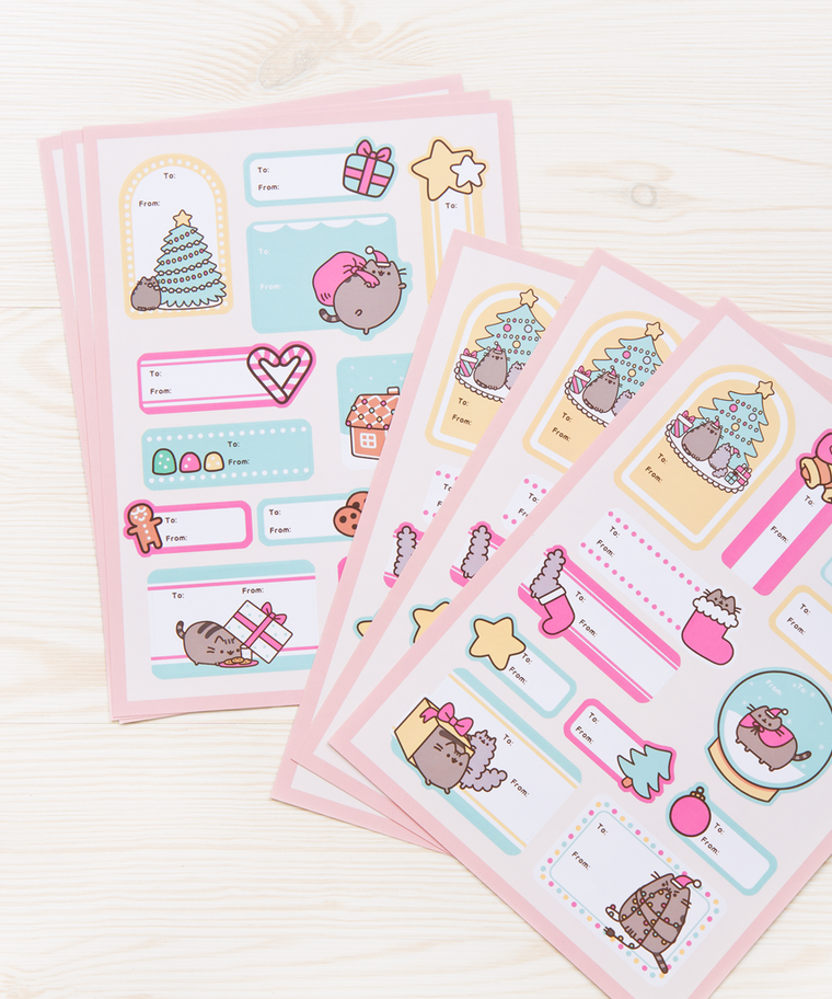 Pusheen Christmas Gift Tag labels (Pack of 6)