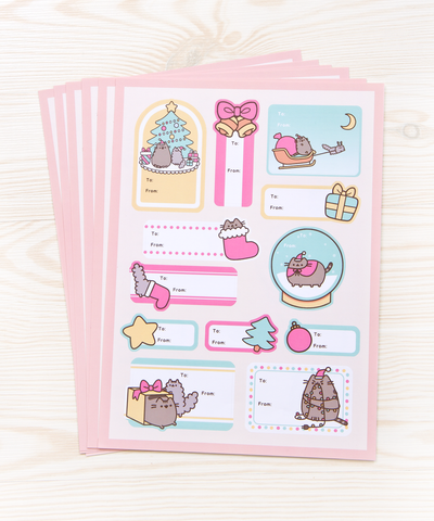 Pusheen Christmas Gift Tag labels - pack of 6
