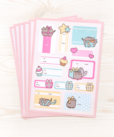 Pusheen Holiday Gift Tag labels - pack of 6