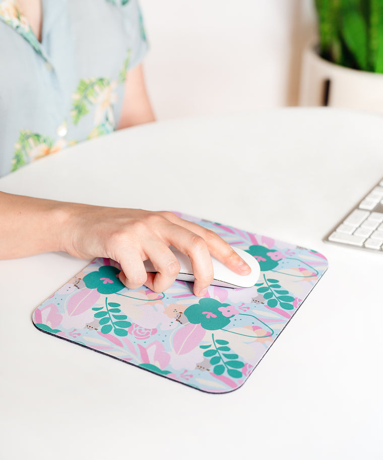 Pusheen Botanical Print Mouse Pad