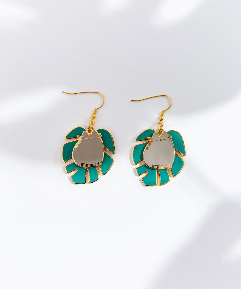 Pusheen Monstera Earrings