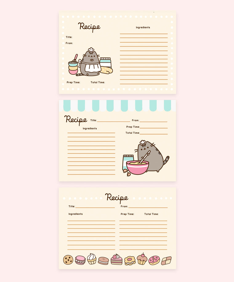 Baker Pusheen Recipe Card Set