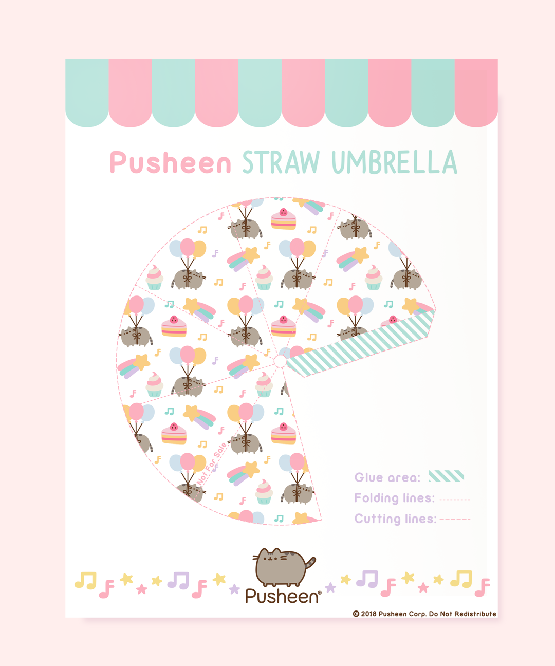 Printable Pusheen Straw Umbrella