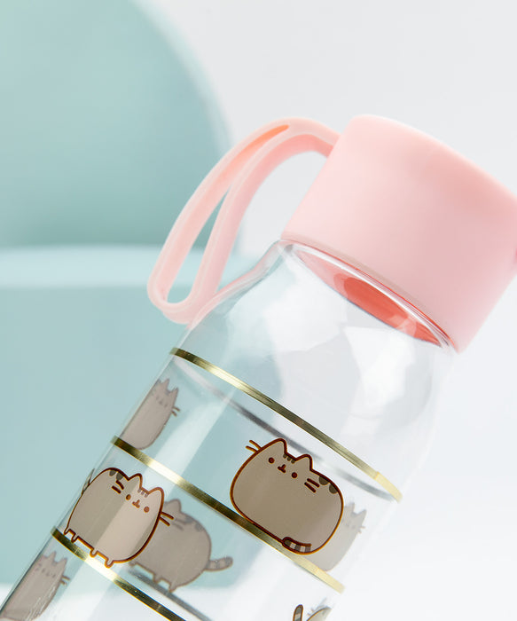 Pusheen Gold Striped Water Bottle