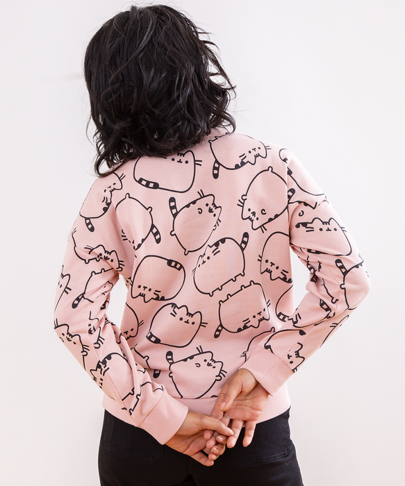 Pink Pusheen Patterned Ladies Sweatshirt